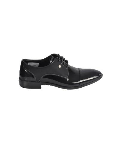 Voyager 4681 Hakiki Deri Siyah Rugan Erkek Klasik Ayakkabı Siyah